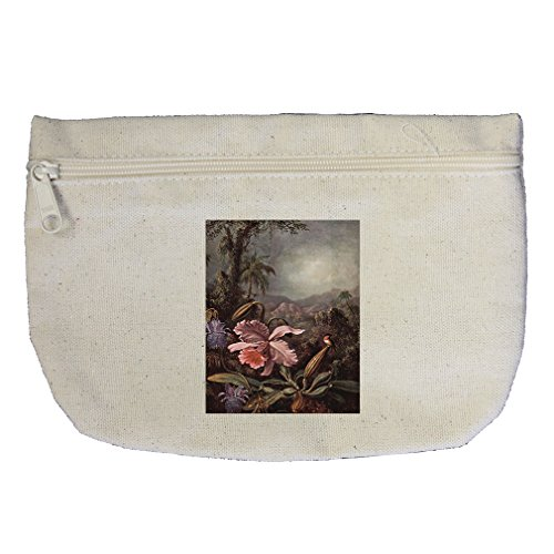 Orchids, Flowers & Hummingbirds (Heade) Canvas Makeup Bag Zippered Pouch ()