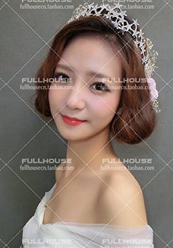 Lady Beauty Ornament Makeup (Quantity 1x ._ Korean star _full_ Princess bride Headdress _water_ diamond Crown Tiara Party Wedding Headband Women Bridal Princess Birthday Girl Gift Wedding Hair Ornaments makeup_building_accompanie)