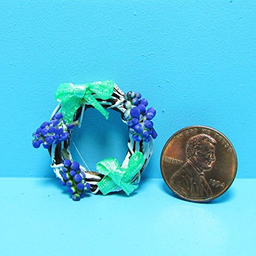 Dollhouse Miniature Grapevine Wreath with Grapes and Green Ribbons - My Mini Fairy Garden Dollhouse Accessories for Outdoor or House Decor by New Miniature
