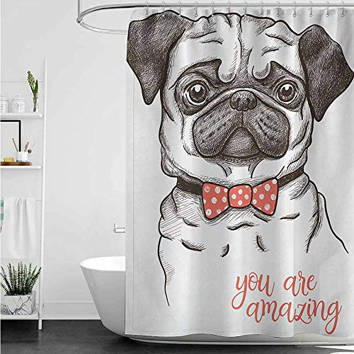 (home1love Funny Shower Curtain,Pug Portrait of Dog Cartoon Style Bow Tie on a Pug Pet Fun Comedic Image Fashionable Animal,Bathroom Curtain Washable Polyester,W47x63L,Black Red)