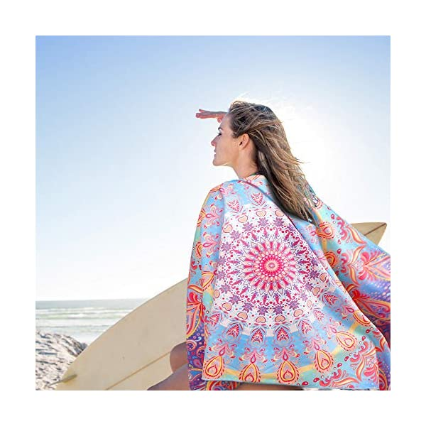 AtailorBird Telo Mare Grande Asciugamano da Spiaggia in Microfibra 150 * 75cm Bohemian Mandala Leggero Tasca Altamente… 7 spesavip