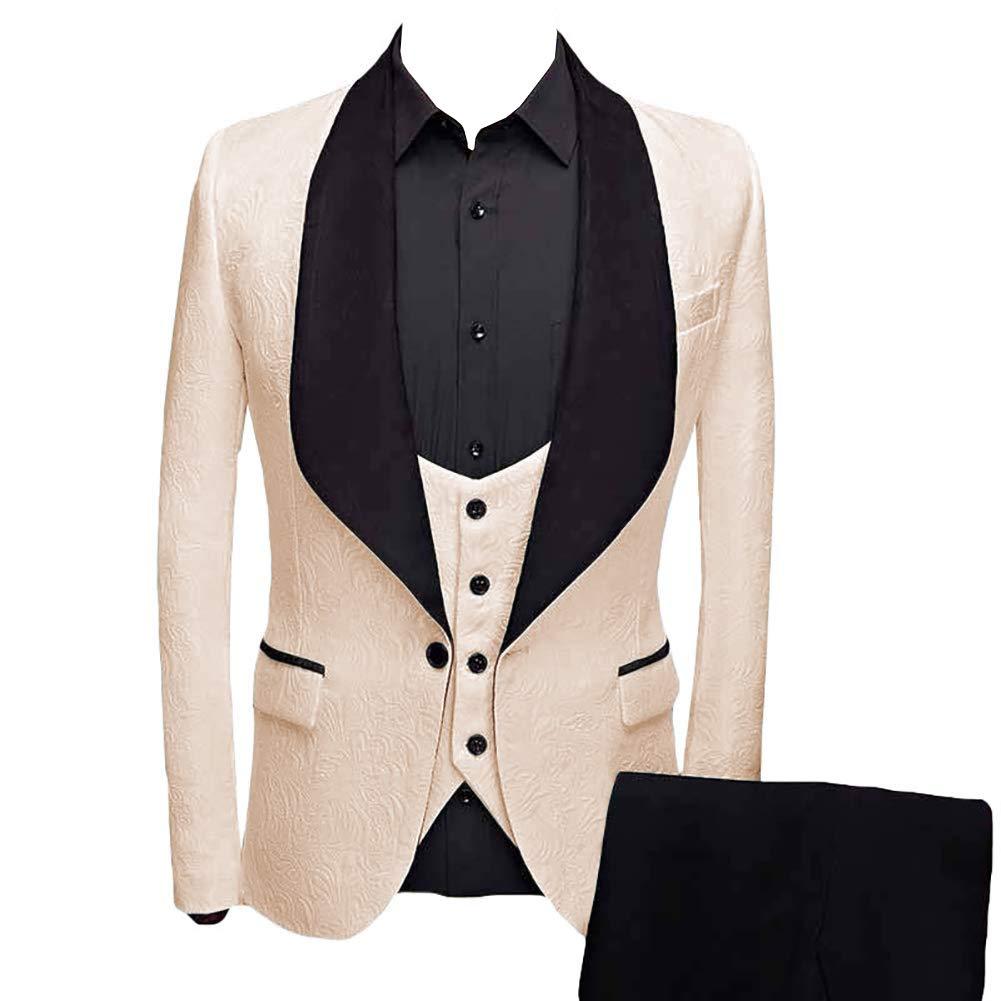 P/&G Mens Shawl/Lapel Jacquard Three Pieces Suit Business Wedding Party Jacket Waistcoat /& Trousers Tuxedo