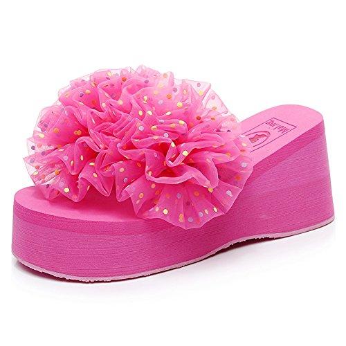 LIXIONG zapatillas Hembra verano Moda Punto Hilos de flores playa Tacón alto Antideslizante zapato, Con alto 6-8cm, 2 colores, Zapatos de moda (Color : Rosa roja, Tamaño : EU37/UK4-4.5/CN37/235) Rosa roja