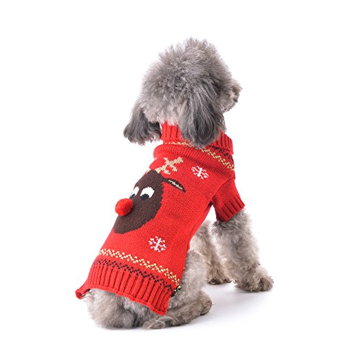 ABRRLO Pet Holiday Reindeer Ugly Christmas Dog Sweater,Red Black Pet Puppy Cat Winter Knitwear Warm Jumper Clothes for…