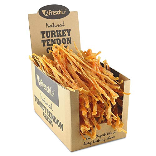 AFreschi Turkey Tendon for Dogs, Premium All-Natural, Hypoallergenic, Long-Lasting Dog Chew Treat, Easy to Digest, Alternative to Rawhide, Ingredient Sourced from USA, Large
