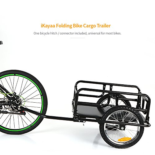 IKAYAA Folding Bike Cargo Trailer Hand Wagon Bicycle Luggage Trailer Storage Cart Carrier with Detachable Metal Frame Hitch by IKAYAA (Image #4)