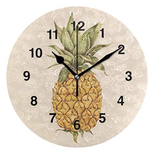 - Jojogood Hand Drawn Pineapple Clock Wall Decor Acrylic Decorative Round Clock for Home Bedroom Living Room Art