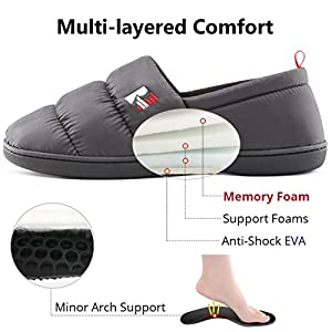 RockDove Men's Quilted Down Hardsole Slippers, Memory Foam Slip-On Camping Shoes