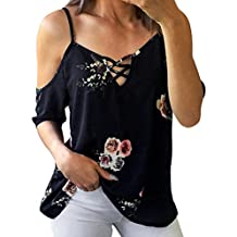 Mikey Store Clothes Women Clothing Clearance,Mikey Store Casual Sexy Floral Printing T-Shirt Blouse