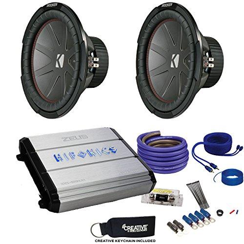 """12"""" CompR Subwoofers & Hifonics ZXX-1200.1D Zeus 1200 Watt Amplifier & Wiring Kit ()"""