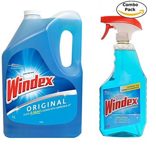 Windex Original (With Ammonia D) Glass & Multi Surface Cleaner, 32 Oz Spray Bottle + 172 Oz Refill Bottle(1.34gal) Combo set (Ammonia Bottle)
