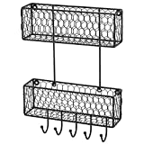 2 Tier Wall Hanging Metal Chicken Wire Organizer Baskets, Entryway Mail Sorter with 5 Key Hooks