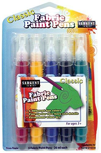 Sargent Art 97-0505 5ct Classic Fabric Paint Pens, 5 Color Set by Sargent Art