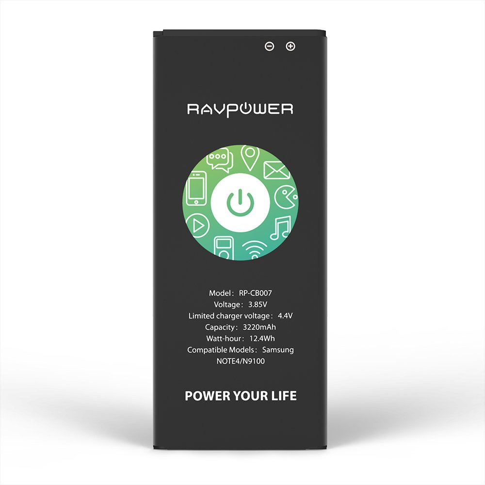 Galaxy Note 4 Battery RAVPower 3220mAh Li-ion Replacement Battery for Samsung Note 4 N910, N910U 4G LTE, N910V(Verizon), N910T(T-Mobile), N910A(AT&T), N910P(Sprint) Without NFC by RAVPower