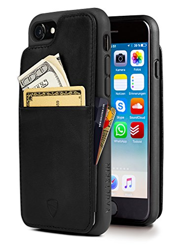 iPhone 7/8 Wallet Case, Vaultskin Eton Armour for iPhone 7/8 (4.7) Slim Minimalist Bumper Case for Cards and Cash, Genuine Leather - Holds up to 10 Cards (iPhone 7/8, Black)