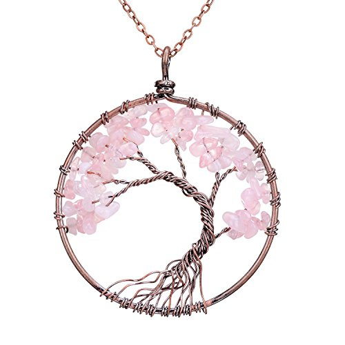 Natural Tumbled Raw Rose Quartz Family Root Tree of Life Stone Pendant Necklace Wisdom Wire Wrapped Tree of Life 2 Inch Pendant Semi Precious Rose Gemstone Necklace Healing Jewelry Gift (Crystals Necklace Jewelry)