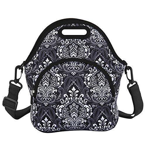Classic Lunch Bag with Zipper Pocket and Adjustable Detachable Strap Black Neoprene Lunch Box Insulated Waterproof bags School Travel Picnic Office Lunch Tote for Women Adults Students (Best Insulated Lunch Box 2019)