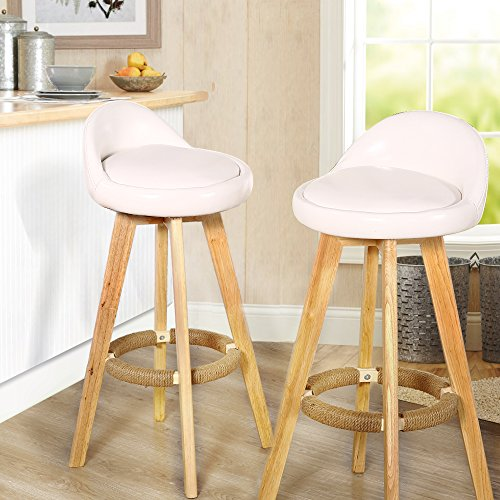 Modern Set of 2 Wooden Bar Stools Leather or Fabric Swivel Pub Chair Cream (Leather) - Back Windsor Swivel Bar Stool