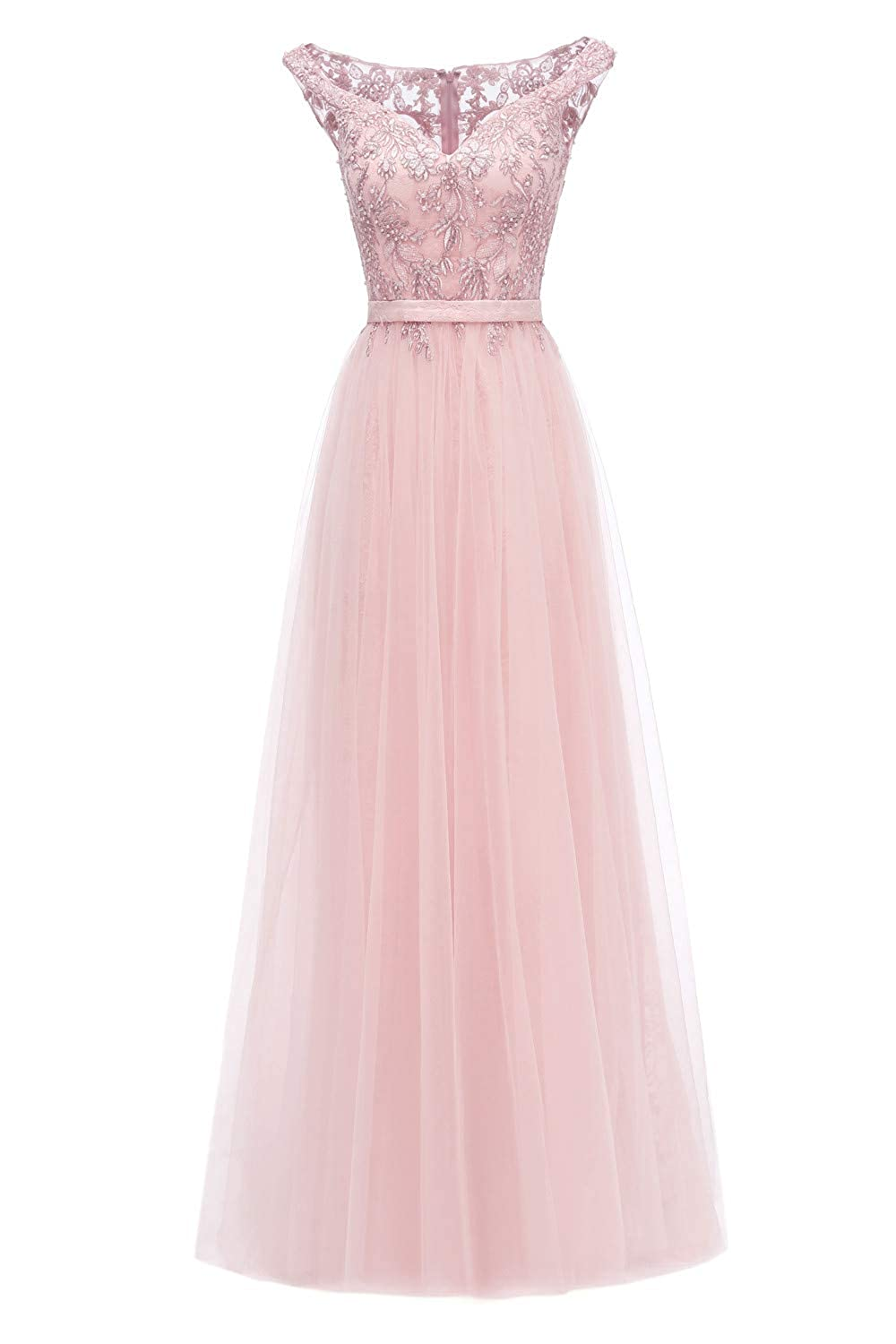 Baby Pink Huifany Womens VNeck Cap Sleeve Lace Prom Bridesmaid Dresses Long Formal Evening Ball Gowns