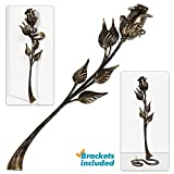 Hand Forged Metal Rose Flower 16in Iron Sculpture w/ Stand and Wall Holder Wrought Steel Decorative Flower Centerpiece Decoration Unique Anniversary, Wedding, Mom's day Gift, Black w/Gold Patina, Mat