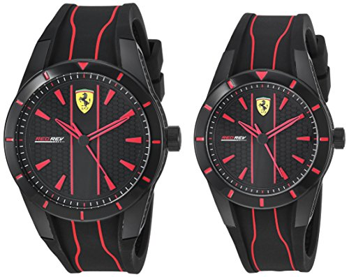 Ferrari RedRev Gift Set, Quartz Plastic and Silicone Strap Casual Watch, Black, Men, 870021
