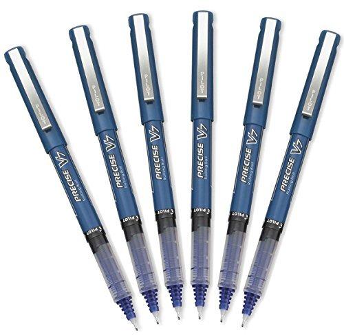 Pilot Precise V7 Stick Rolling Ball Pens, Fine Point, Blue Ink, 6 Pack