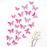 Wandkings 3D Butterflies in PINK with ornaments / patterns, set of 12 with adhesive dots