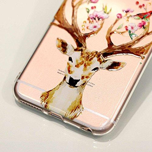 iPhone 6 6S Hülle , Leiai Modisch Elch TPU Transparent Clear Weich Tasche Schutzhülle Silikon Handyhülle Stoßdämpfende Schale Fall Case Shell für Apple iPhone 6 6S