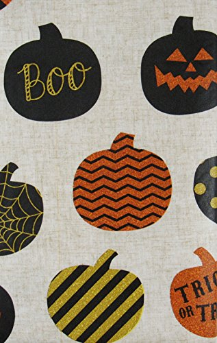 Jack-O-Lanterns and Pumpkin Patterns Vinyl Flannel Back Tablecloth (52'' x 102'' Oblong) by Elrene