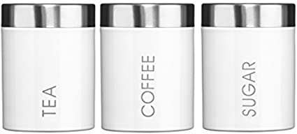 a538c1afd208 Image Unavailable. Image not available for. Colour: Kabalo Set of 3 White  Tea Coffee & Sugar Canisters Kitchen Storage Containers Jars Pots (