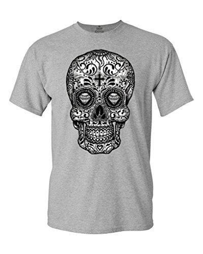 Sugar Skull Black & White T-Shirt Day of Dead Shirts X-Large Sports Grey 17037