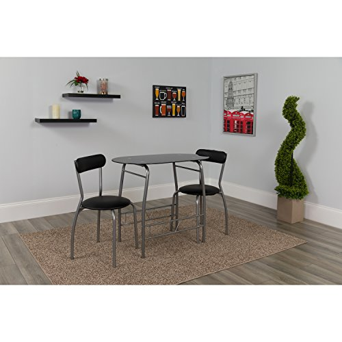 Flash Furniture Sutton 3 Piece Space-Saver Bistro Set with Black Glass Top Table and Black Vinyl Padded Chairs (Black Glass Bistro Table)