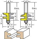 Woodtek 821089, 10-pack , Router Bits, Door Construction, Stile & Rail Cabinet, Rail & Stile Set, Ogee Detail, 1/2'' Shank