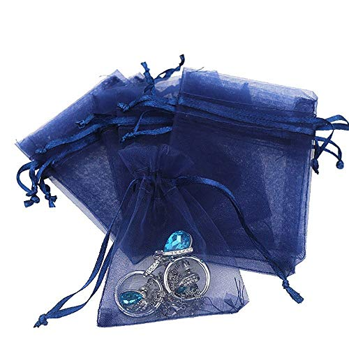 Outdoorfly 50PCS Drawstring Organza Bags 5x7 Inches Navy Blue Transparent Jewelry Favor Pouches Baby Shower Party Wedding Gift Bags Chocolate Candy Bags(50PCS Navy Blue)