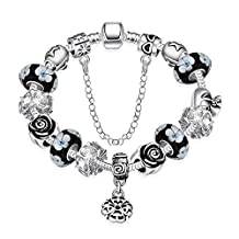 Star Jewelry Silver Plated Diy Style Unique Glass Flower Beads Charms Bracelet For Girls and Women Bangle