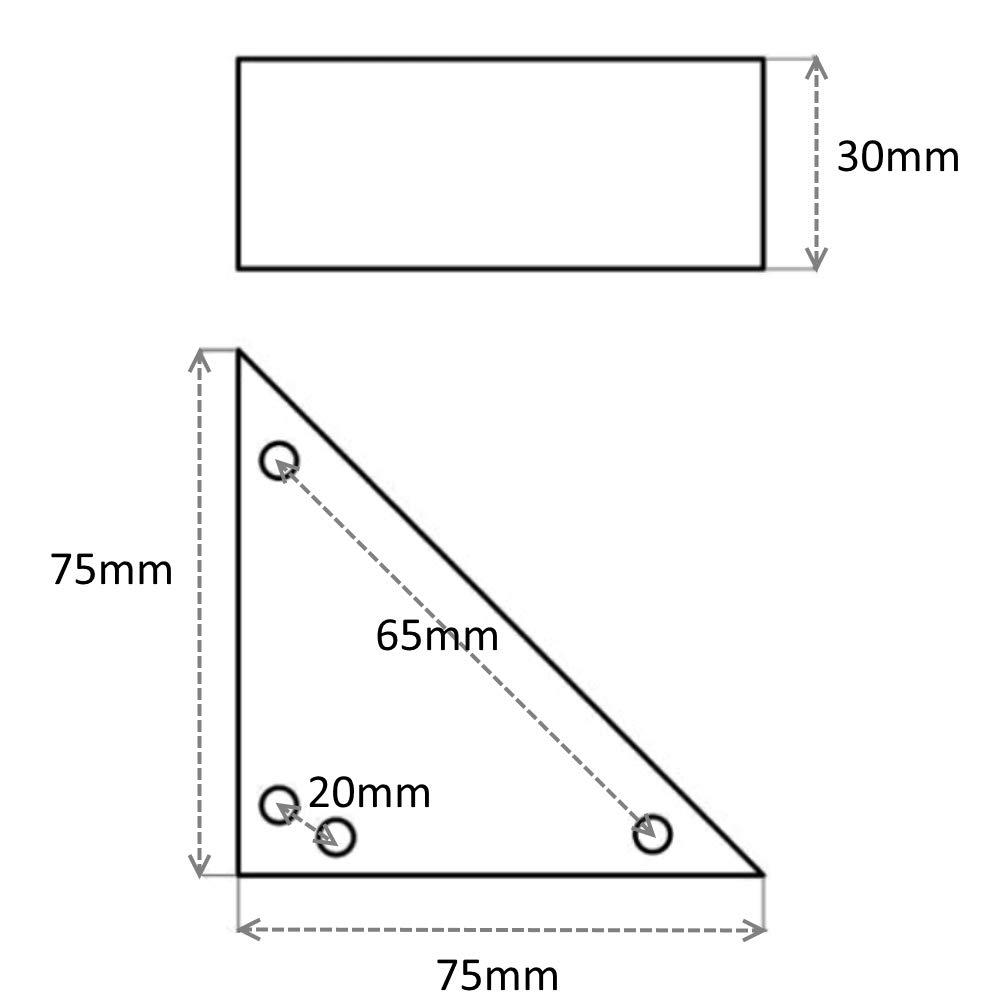 4x Patas pies triangulares para muebles 75//75//105mm H30mm pl/ástico marr/ón para fijar con tornillos C42439 AERZETIX