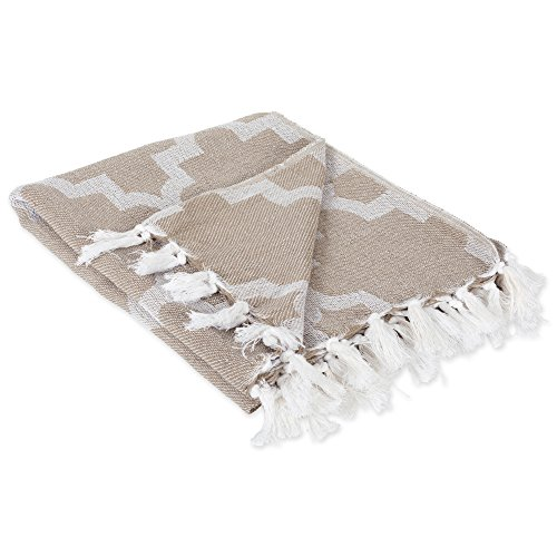 DII Modern Moroccan Cotton Blanket Throw with Fringe For Chair, Couch, Picnic, Camping, Beach, & Everyday Use , 50 x 60 - Lattice Stone