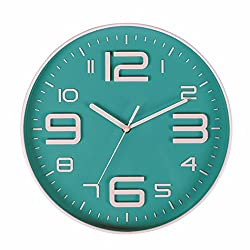 Kinger_Home Wall Clock- 10 Inch Silent Non Ticking Quality Quartz Battery Operated Wall Clock, Easy To Read 3D Numbers (Bluegreen)