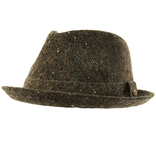 SK Hat shop Men's 100% Soft Wool Tweed Winter Fall Derby Fedora Uprturn Curl Hat S/M by SK Hat shop