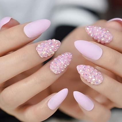 EchiQ - Uñas postizas con purpurina en color rosa y almendra
