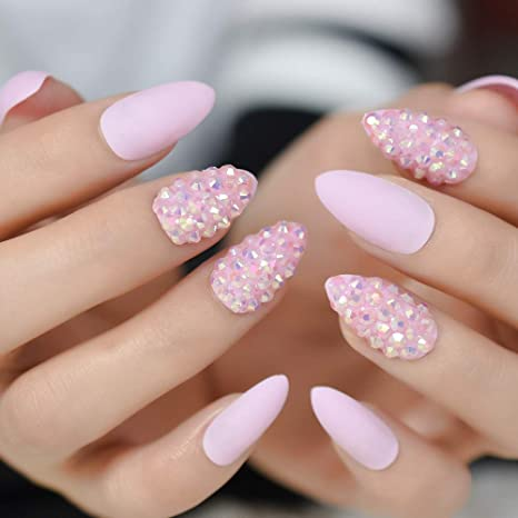 Amazon.com : CoolNail Jelly Pink Glitter Stiletto False Nail Almond Nail Art Tips 3D AB Rhinestones Fake Nails Press on Daily Wear, Many Options : Beauty