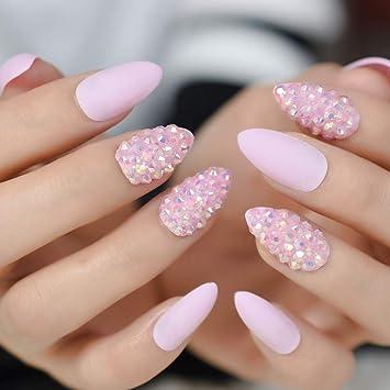 EchiQ - Uñas postizas con purpurina en color rosa y almendra ...
