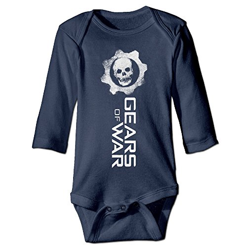 HYRONE Gears Of War Skull Baby Bodysuit Long Sleeve Romper Suits Size 12 Months Navy