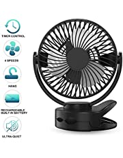 Laluztop Desk Fan mini USB Fan Table Cooling timer Fan 4400mAh Battery Powered Fan 4 Speeds with 3mode Timer Super Quiet 720 Degree Rotated Perfect Small Personal Fan for Table & Outdoor
