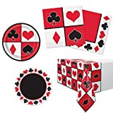 Unique Casino Party Bundle | Luncheon & Beverage Napkins, Dinner & Dessert Plates, Table Cover | Great for Las Vegas/Poker Night Birthday/Christmas/Corporate Themed Parties