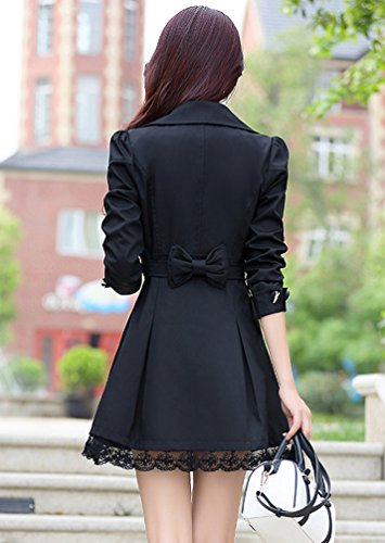 Boutonnage Fit Revers Printemps YuanDian Coat Midi Automne Slim Casual Long Femmes Lace Trench Double 7gZxgHvwq