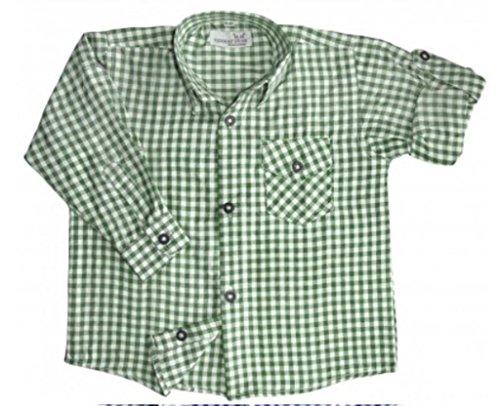 Kinder Trachtenhemd für Lederhosen Langarm Oktoberfest Trachten grün-weiss kariert 164/170