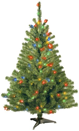 Spruce Christmas Trees - National Tree 4 Foot Kincaid Spruce Tree with 100 Multicolor Lights (KCDR-40RLO-S)