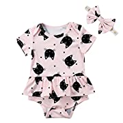 Infant Baby Girl Cat Print Short Sleeve Botton Ruffle Romper with Headband (Pink, 0-6 Months)