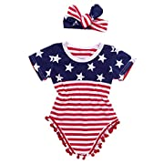 Aalizzwell 2pcs Uunisex Baby Boy Girl USA Flag Pattern Tassel Balls Summer Romper +Headband (0-3M, Navy Blue&Red)